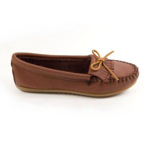 Womens Mocs Deerskin Soft Carmel side view